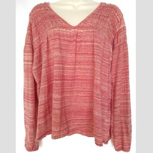 Free People Pink Red Knit Top Shirt Sz XS Long